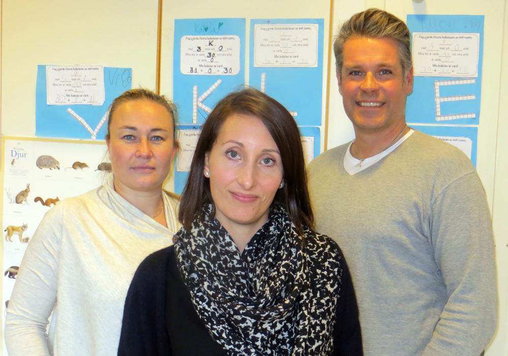Malin Lossman, Maria Edholm och Laban Tobiasson på Tyresö skola.