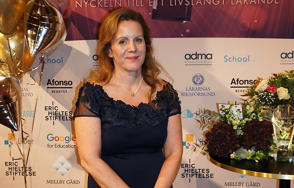 Kerstin Dahlin prisades som Årets mellanstadielärare på Lärargalan. Foto: Lärargalan