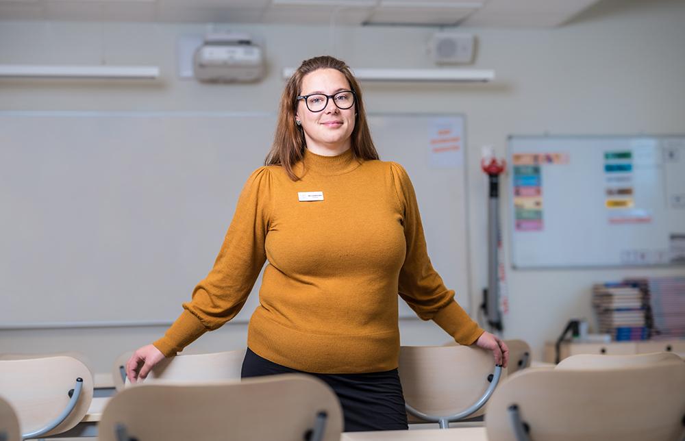 Emmelie Lundström, lärare i svenska och SO på IES i Skellefteå. Foto: Christian Mård