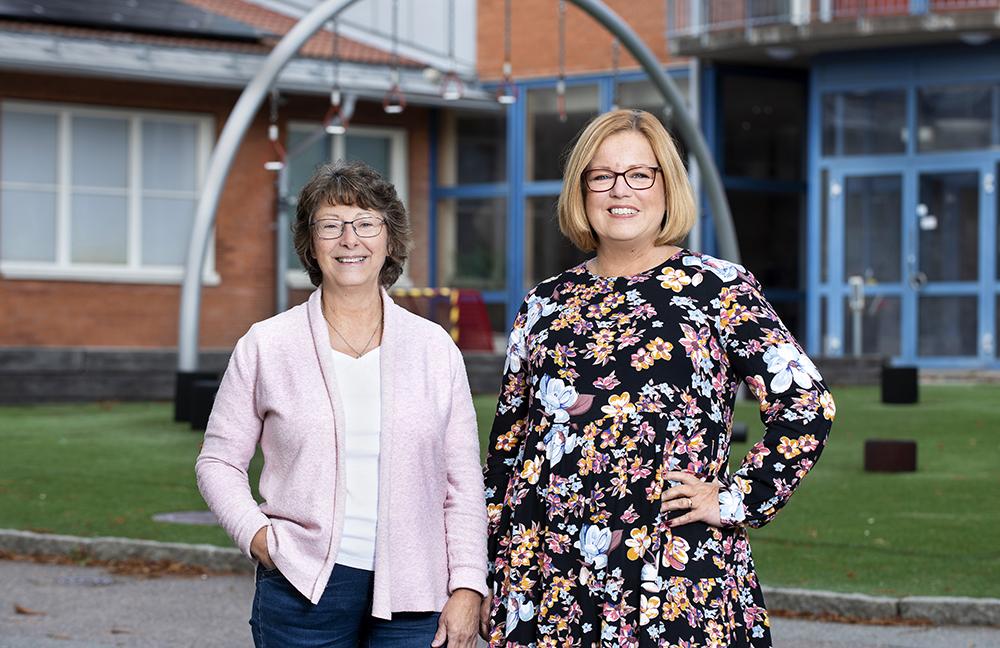 Jane Carlsson, speciallärare och Ann-Louise Saarinen, biträdande rektor på Kannebäcksskolans grundsärskola. Foto: Lisa Jabar / AnnalisaFoto